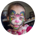 Face painting on girl of rabbit
